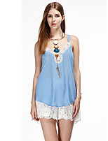 Women's Going out Simple Summer Tank Top,Solid Strap Sleeveless Blue / White / Orange Polyester Thin