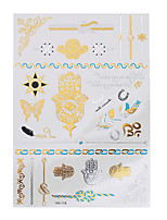 1pc Flash Tattoo Metallic Gold Silver Temporary Finger Feather Butterfly Waterproof Tattoo Sticker YH-114