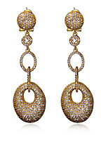 Women Long Drop Earrings 18k Gold plated and platind plated & White Cubic Zirconia Retro beautiful Earring