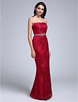 Formeller Abend Kleid Eng anliegend Trägerlos Boden-Länge Spitze mit Spitze