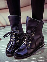 Women's Shoes PU Fall / Winter Fashion Boots Boots Outdoor Chunky Heel Lace-up Black