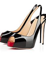 Черный / Миндальный-Женская обувь-Свадьба / Для офиса / Для вечеринки / ужина-Дерматин-На шпильке-На каблуках-Сандалии