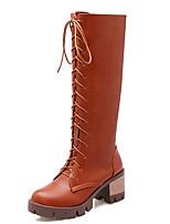 Mujer-Tacón Robusto-Tacones / Punta Redonda / Botas a la Moda-Botas-Vestido / Casual / Fiesta y Noche-Semicuero-Negro / Amarillo / Blanco