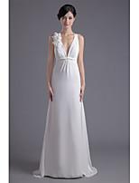 Sheath/Column Wedding Dress-Sweep/Brush Train V-neck Chiffon