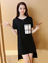 Women's Check White / Black T-shirt,Round Neck Short Sleeve