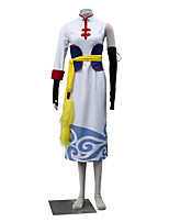 Inspiré par Gintama Kagura Anime Costumes de cosplay Costumes Cosplay Couleur Pleine Blanc / Jaune Sans Manches Robe / Gants / Ceinture