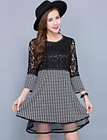 Women's Vintage / Street chic Print Plus Size / A Line Lace Dress,Round Neck Mini