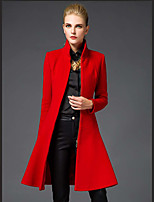 Women's Casual/Daily Simple Trench Coat,Solid Stand Long Sleeve Fall / Winter Red / Black Cotton Medium