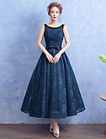Formal Evening Dress A-line Scoop Tea-length Lace with Bow(s) / Pearl Detailing
