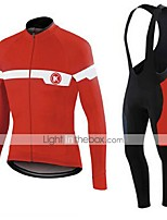 KEIYUEM® Winter Thermal fleece Long Sleeve Cycling Jersey+Long Bib Tights Ropa Ciclismo Cycling Clothing Suits #W42
