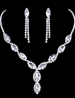 Silver  Full-Crystal Necklace Earrings Jewelry Set for Lady Wedding Party