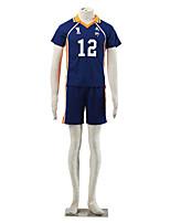 Inspired by Haikyuu Midorubulooka Anime Cosplay Costumes Cosplay Suits Color Block Blue / Orange Short Sleeve T-shirt / Shorts