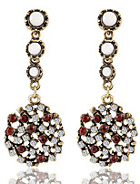 Vintage Round Mosaic Color Rhinestones Long Section Earrings