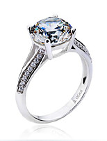 SONA Stone 9.0mm 3CT Engagement Ring for Women Round Diamond Ring Solitaire with Accents Sterling Silver Pt950 Plated