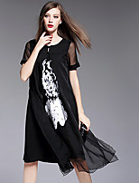 BOMOVO® Women's Round Neck Short Sleeve Midi Dress-B16XQJ5