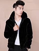 Men's Solid Casual / Plus Sizes Coat,Faux Fur / Rex Rabbit Fur Long Sleeve-Black