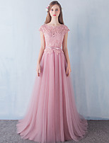 Formal Evening Dress A-line Scoop Floor-length Lace / Tulle / Stretch Satin with Beading / Bow(s) / Lace / Sash / Ribbon