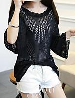 Women's Solid White / Black Blouse,Round Neck ¾ Sleeve