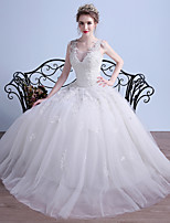 Ball Gown Wedding Dress Floor-length V-neck Tulle with Appliques / Beading