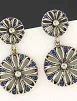 Earring Flower Drop Earrings Jewelry Women Fashion / Vintage Party / Daily / Casual Alloy / Rhinestone 1 pair Bronze / Blue