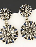 Brinco Formato de Flor Brincos Compridos Jóias 1 par Fashion / Vintage Pesta / Diário / Casual Liga / Strass Feminino Bronze / Azul