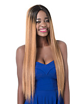 European Vogue long Sythetic Party Black Mix Light Brown Straight Wig For Women