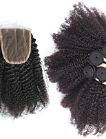 6A Malaysian Curly Hair With Closure 4 Pcs Kinky Curly Virgin Hair Extensions With 4x4 Lace Closure