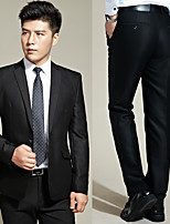Suits Slim Fit Notch Single Breasted One-button Polyester Solid 2 Pieces Black Straight Flapped None