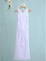 Lanting Bride Floor-length Chiffon Junior Bridesmaid Dress Sheath / Column V-neck with Cascading Ruffles / Ruching