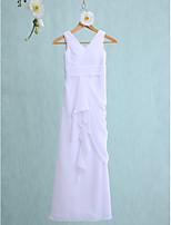 Lanting Bride Tot de grond Chiffon Junior bruidsmeisjesjurk Strak/kolom V-hals met Gelaagde ruches / Ruches