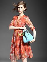 BOMOVO® Women's V Neck 1/2 Length Sleeve Midi Dress-B16XAF1