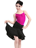 Children's Performance Velvet / Milk Fiber Ruched 3 Pieces Sleeveless NaturalTop / Skirt / Hair Latin Dance Outfits