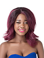 European Vogue Medium Sythetic Black Mix Wine Red Party Wig For Women