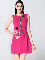 Boutique S Women's Going out Sophisticated Sheath Dress,Embroidered Round Neck Above Knee Sleeveless Pink Cotton