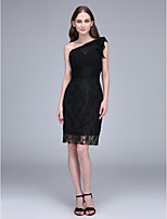 Lanting Bride Knee-length Chiffon / Lace Bridesmaid Dress Sheath / Column One Shoulder with Lace / Ruching