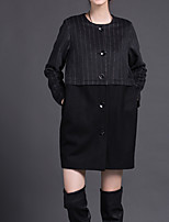 Women's Casual/Daily Simple Coat,Striped Round Neck Long Sleeve Winter Black Wool / Polyester Medium