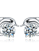 Silver Dolphins Zircon Fashion Hypoallergenic Earrings