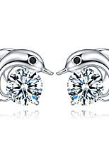 Silver Dolphins Zircon Fashion Hypoallergenic Earrings