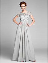 Lanting Bride Sheath / Column Mother of the Bride Dress Floor-length Short Sleeve Chiffon with Crystal Detailing
