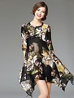 Angel Women's Casual/Daily Street chic Loose Dress,Print Round Neck Asymmetrical ½ Length Sleeve Linen Summer