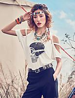 Aporia.As® Women's Round Neck Short Sleeve Shirt & Blouse White-MZ03087