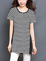 Damen Gestreift Übergröße / Einfach Lässig/Alltäglich T-shirt,Rundhalsausschnitt Sommer Kurzarm Schwarz Baumwolle / Elasthan Dünn