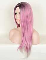 Pink Color Straight Synthetic Wig European and American Fashion High Temperature Birthday Gift Hot Sale