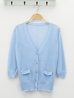Women's Casual/Daily Street chic Regular Cardigan,Solid Blue / Pink / White / Beige / Black / Yellow V Neck ¾ Sleeve Linen Spring Thin