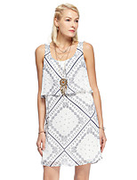 Women's Going out Simple Loose Dress,Print Strap Above Knee Sleeveless White Polyester Summer