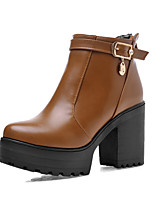 Women's Shoes PU Fall/Winter Heels/Round Toe Boots Office & Career/Casual Chunky Heel Zipper Black/Yellow/White