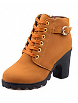 Women's Boots Winter Fashion Boots PU Casual Chunky Heel Lace-up Black / Yellow / Green Others