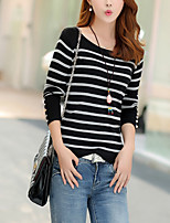 Women's Casual/Daily Simple RegularStriped Black / Brown Round Neck Long Sleeve Cotton Fall Medium