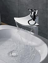 Contemporain Vasque Cascade with  Valve en laiton Mitigeur un trou for  Chromé , Robinet de baignoire / Robinet lavabo / Robinet de