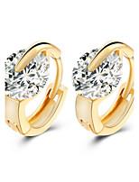 New Crystal Shiny High-grade Zircon Gold Hoop Earrings